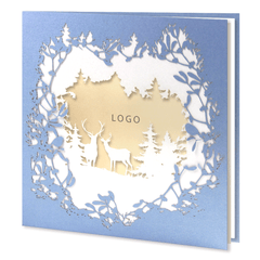 Laser Cut Blue Card With Reindeers