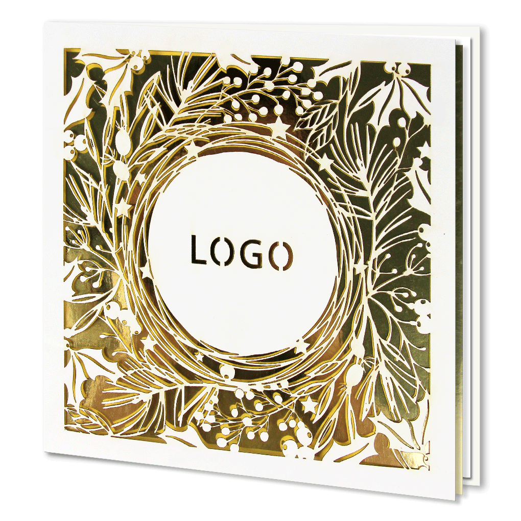 laser cut christmas card with gold mirror paper - Laser Cut Christmas Cards
