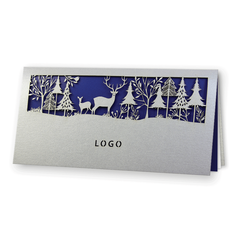 Laser Cut Silver Christmas Card
