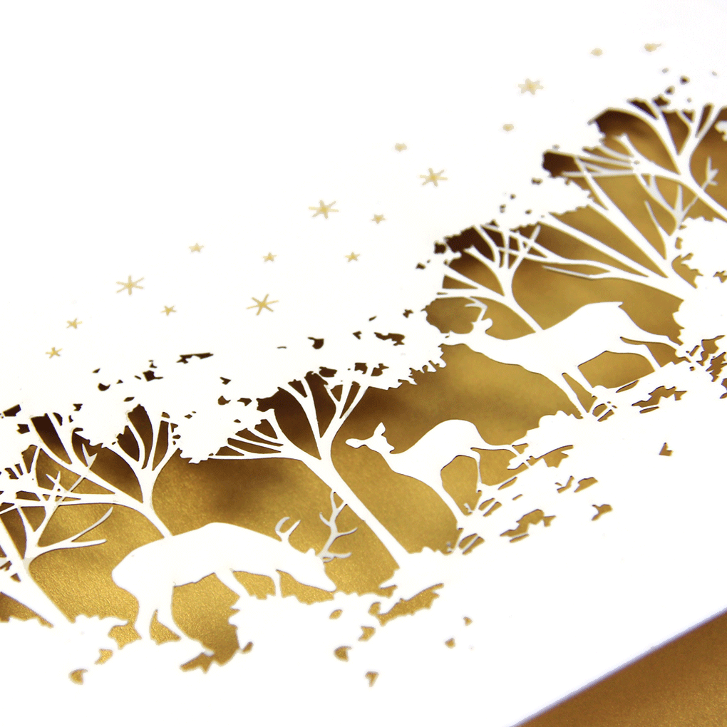 Laser Cut Christmas Card With Gold Insert – Bespoke Corporate Greetings