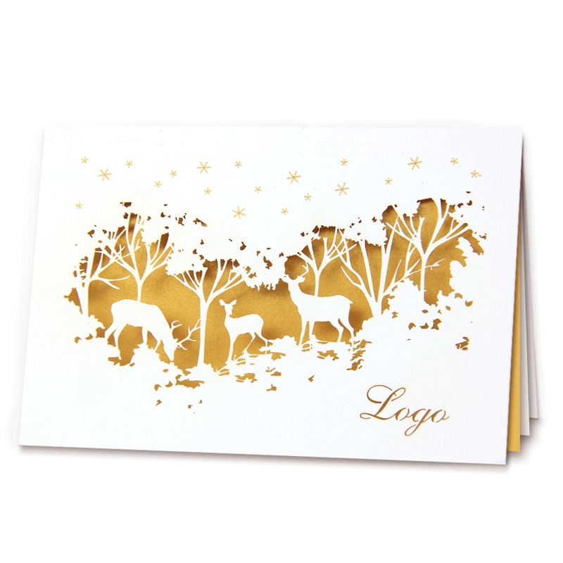 Laser Cut Christmas Card With Gold Insert