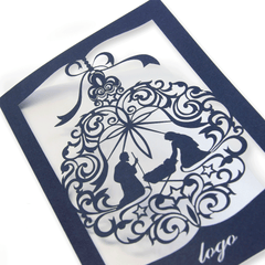 Navy Blue Laser Cut Religious Card