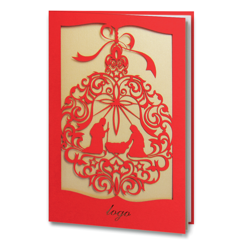 Red Laser Cut Religious Card Bespoke Corporate Greetings