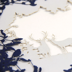 Laser Cut Navy Blue Card With Reindeers