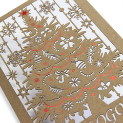 Laser Cut Eco Christmas Tree With Red Foil
