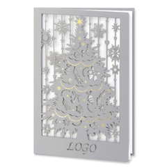 Laser Cut Grey Christmas Tree With Gold Foil