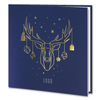 Navy Blue Gold Foil Reindeer