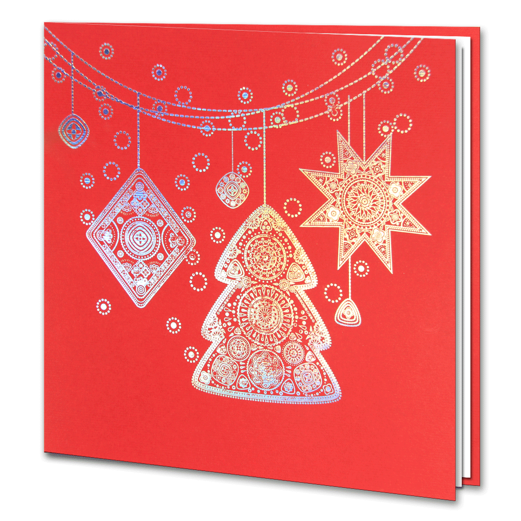holographic foil red christmas decorations - Holographic Christmas Decorations