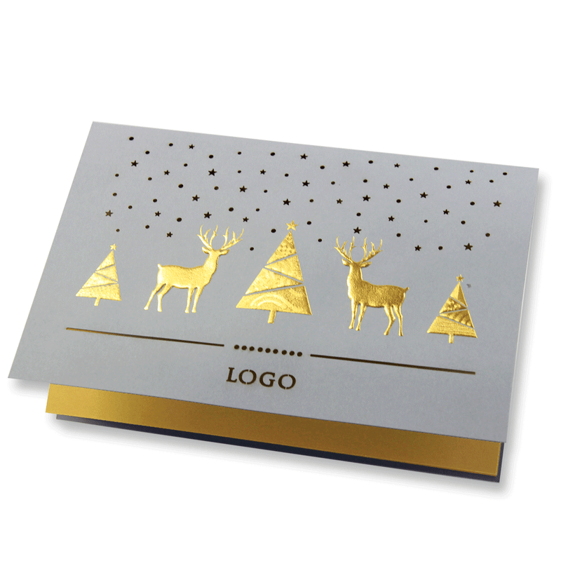 Grey Laser Cut Card With Gold Foil