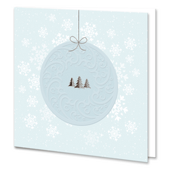 Blue Embossed Christmas Bauble With Silver Foil