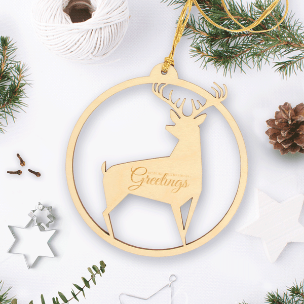Personalised Wooden Christmas Bauble With Reindeer