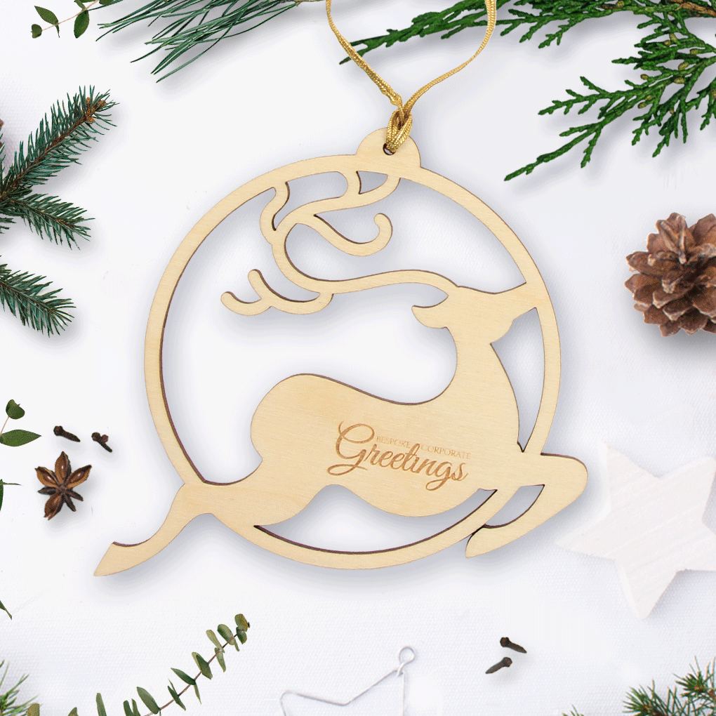 Personalised Wooden Christmas Bauble With Reindeer Bespoke