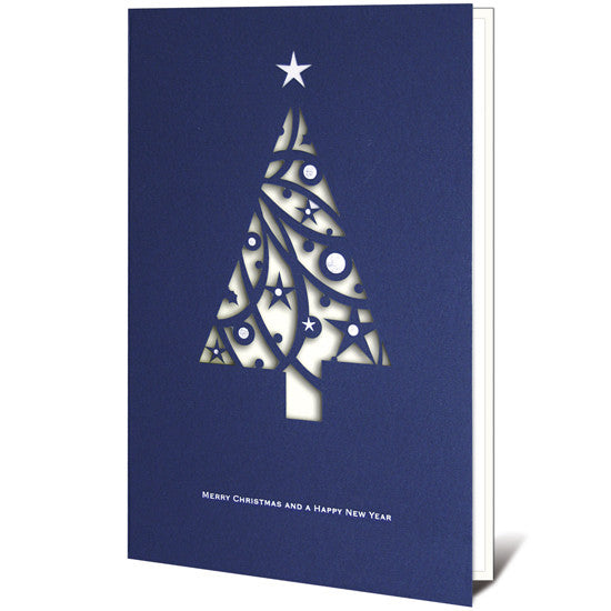 Laser Cut Navy Blue Christmas Tree Card