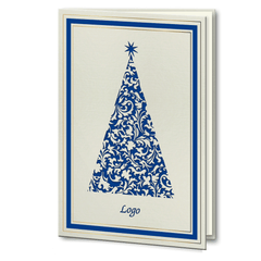 Laser Cut Blue and Gold Foil Christmas Tree