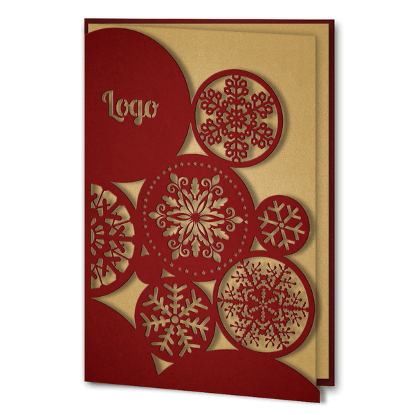 Red and Gold Laser Cut Snowflakes