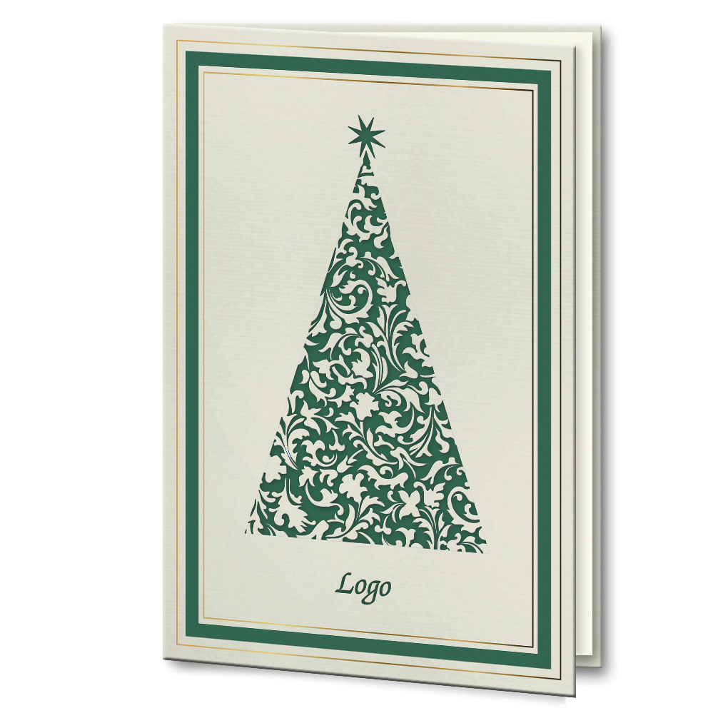 Foil Christmas Tree.Laser Cut Green And Gold Foil Christmas Tree