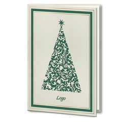 Laser Cut Green and Gold Foil Christmas Tree