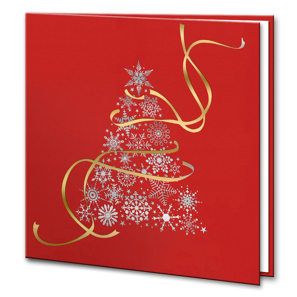 Red silver and gold foil christmas tree bespoke corporate greetings red silver and gold foil christmas tree m4hsunfo
