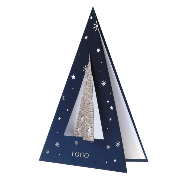 3D Navy Glitter Christmas Tree