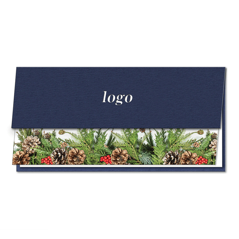 Laser Cut Spruce Navy Blue Half Card