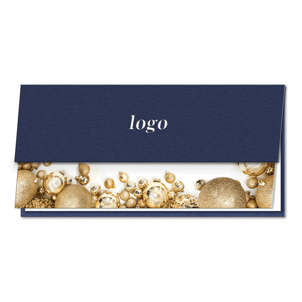 Laser Cut Bauble Navy Blue Half Card