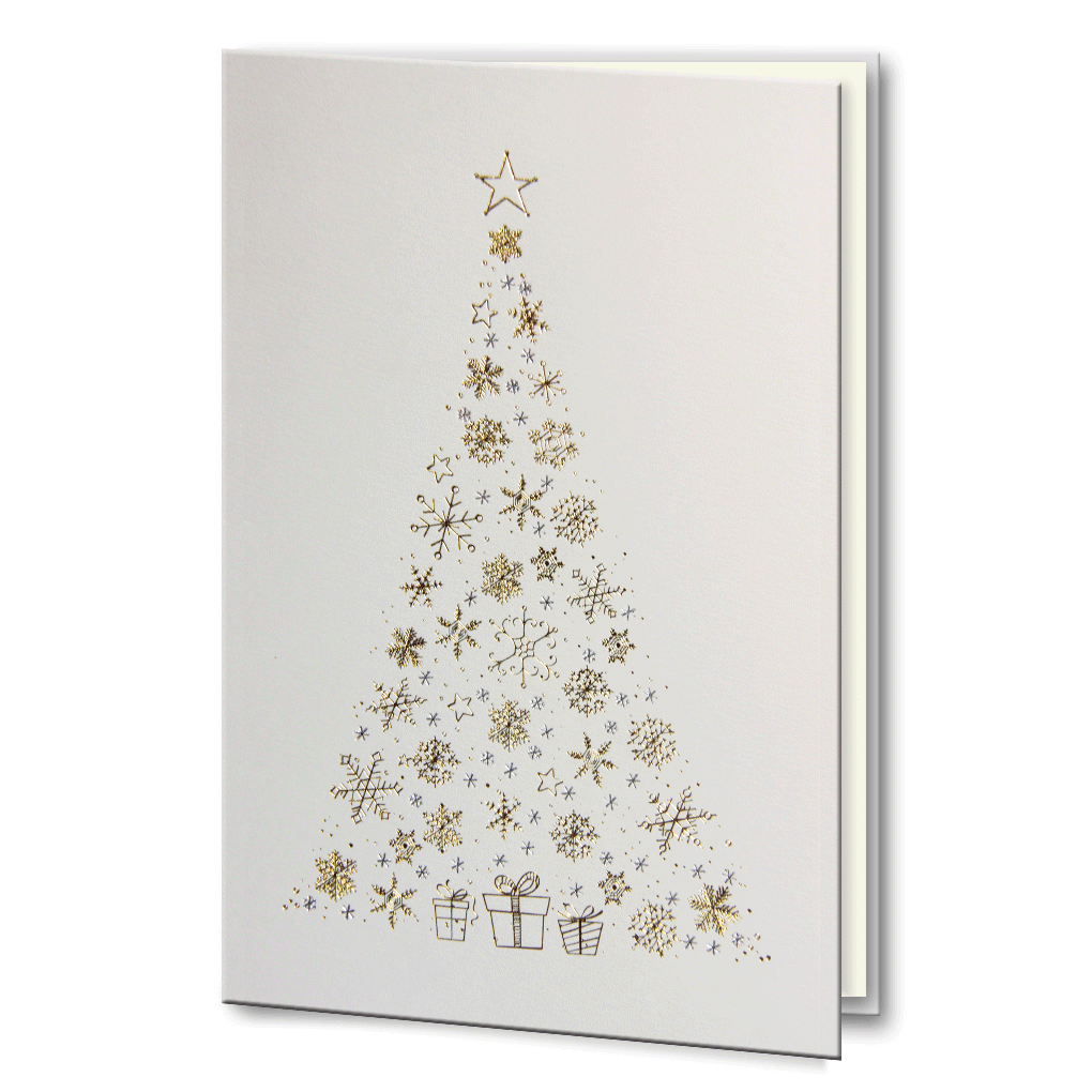 Foil Christmas Tree.Gold And Silver Foil Christmas Tree