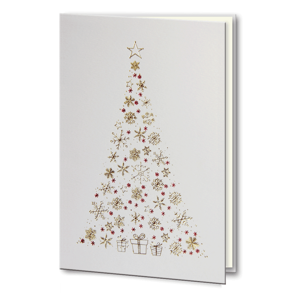 Gold and Red foil Christmas Tree