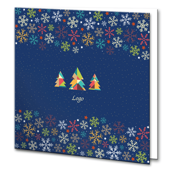Colourful snowflakes and Christmas Trees