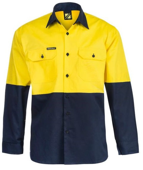 Workcraft Hi Vis Two Tone Half Placket Cotton Drill Shirt with Semi Gusset Sleeves And Csr Reflective Tape (WS6033) - Ace Workwear