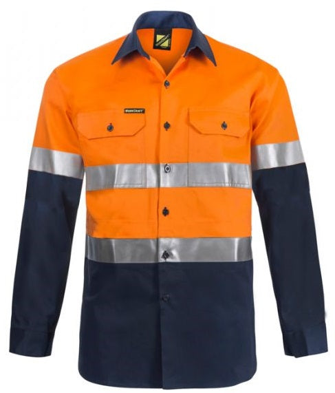 Workcraft Lightweight Hi Vis Two Tone Long Sleeve Vented Cotton Drill Shirt with Csr Reflective Tape (WS6030)