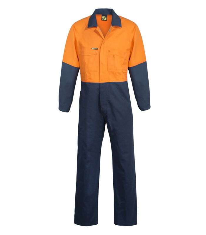 Workcraft Hi Vis Two Tone Poly Cotton Coverall/Overall (WC3059) - Ace Workwear