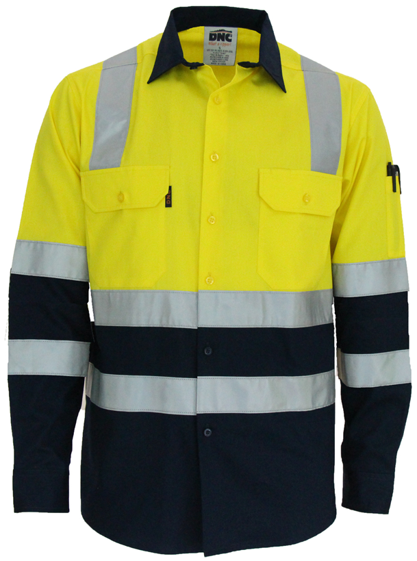 "DNC Hi Vis 2 Tone Light Weight Cotton Bio-Motion ""X"" Back Shirt with Reflective Tape Long Sleeve (3547) - Ace Workwear"