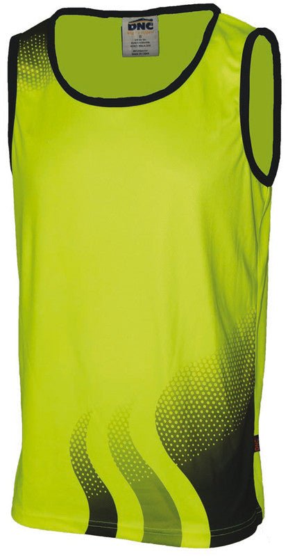 Hi Vis Wave Sublimated Singlet (3561) - Ace Workwear