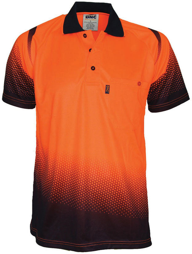 DNC Hi Vis Ocean Sublimated Polo Short Sleeve (3568) - Ace Workwear