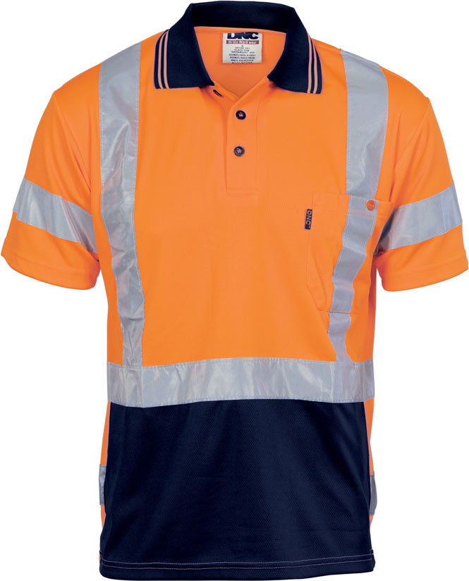 Hi Vis Day/Night Cool Breathe Polo Shirt with Cross Back R/Tape Short Sleeve (3712) - Ace Workwear