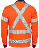 DNC Hi Vis Day/Night Cool Breathe Polo Shirt with Cross Back R/Tape Long Sleeve (3714) - Ace Workwear
