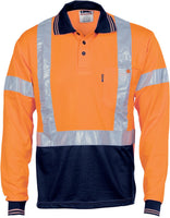 Hi Vis Day/Night Cool Breathe Polo Shirt with Cross Back R/Tape Long Sleeve (3714) - Ace Workwear