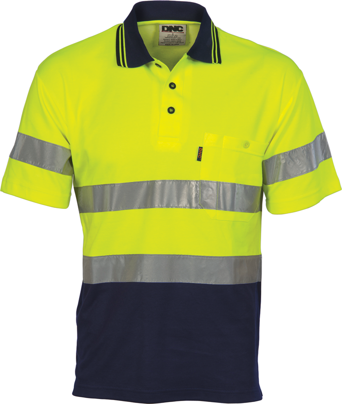 DNC Hi Vis Two Tone Cotton Back Polos with Reflective Tape Short Sleeve (3717) - Ace Workwear (10723685965)