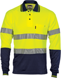 Hi Vis Two Tone Cotton Back Polos with Reflective Tape Long Sleeve (3718) - Ace Workwear