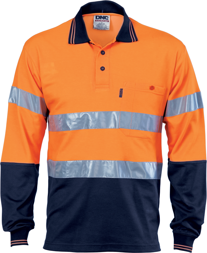 DNC Hi Vis Two Tone Cotton Back Polos with Reflective Tape Long Sleeve (3718) - Ace Workwear