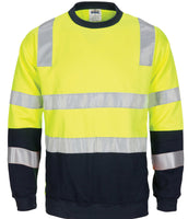DNC Hivis Two Tone, Crew-neck Fleecy Sweat Shirt with Shoulders, Double Hoop Body and Arms CSR R/Tape (3723)
