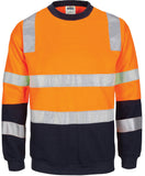 DNC Hivis Two Tone, Crew-neck Fleecy Sweat Shirt with Shoulders, Double Hoop Body and Arms CSR R/Tape (3723) - Ace Workwear