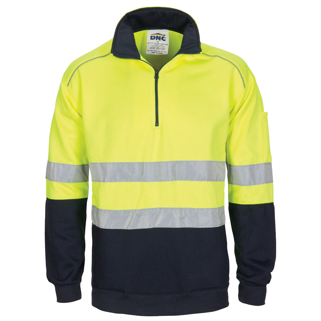 DNC Hi Vis 1/2 Zip Fleecy Jumper with Hoop Pattern CSR Reflective Tape (3729) - Ace Workwear