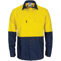 Hi Vis L/W Cool-Breeze T2 Vertical Vented Cotton Shirt with Gusset Sleeves (3733)