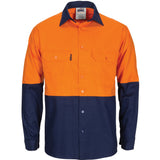 DNC Hi Vis L/W Cool-Breeze T2 Vertical Vented Cotton Shirt with Gusset Sleeves (3733) - Ace Workwear (1082458472492)