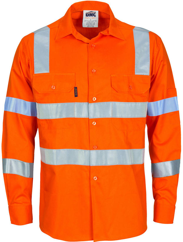 Hi Vis Day & Night Light Weight Vic Rail Compliant Cotton Shirt (3743) - Ace Workwear