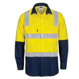 Hi Vis Two Tone Cool-Breeze Cotton Shirt with Hoop & Shoulder CSR Reflective Tape (3747) - Ace Workwear