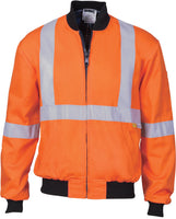 Hi Vis Cotton Bomber Jacket with 'X' Back 3M Reflective Tape (3759) - Ace Workwear