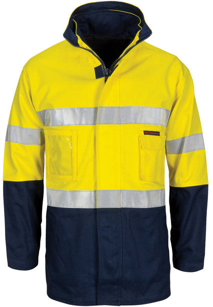 "Hi Vis ""4 IN 1"" Cotton Drill Jacket with Generic Reflective Tape (3764) - Ace Workwear"