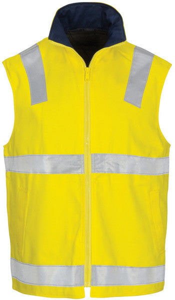 Hi Vis Cotton Drill Reversible Vest with Generic Reflective Tape (3765) - Ace Workwear